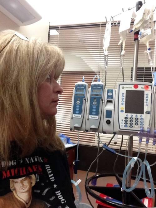 Trina at chemo treatment